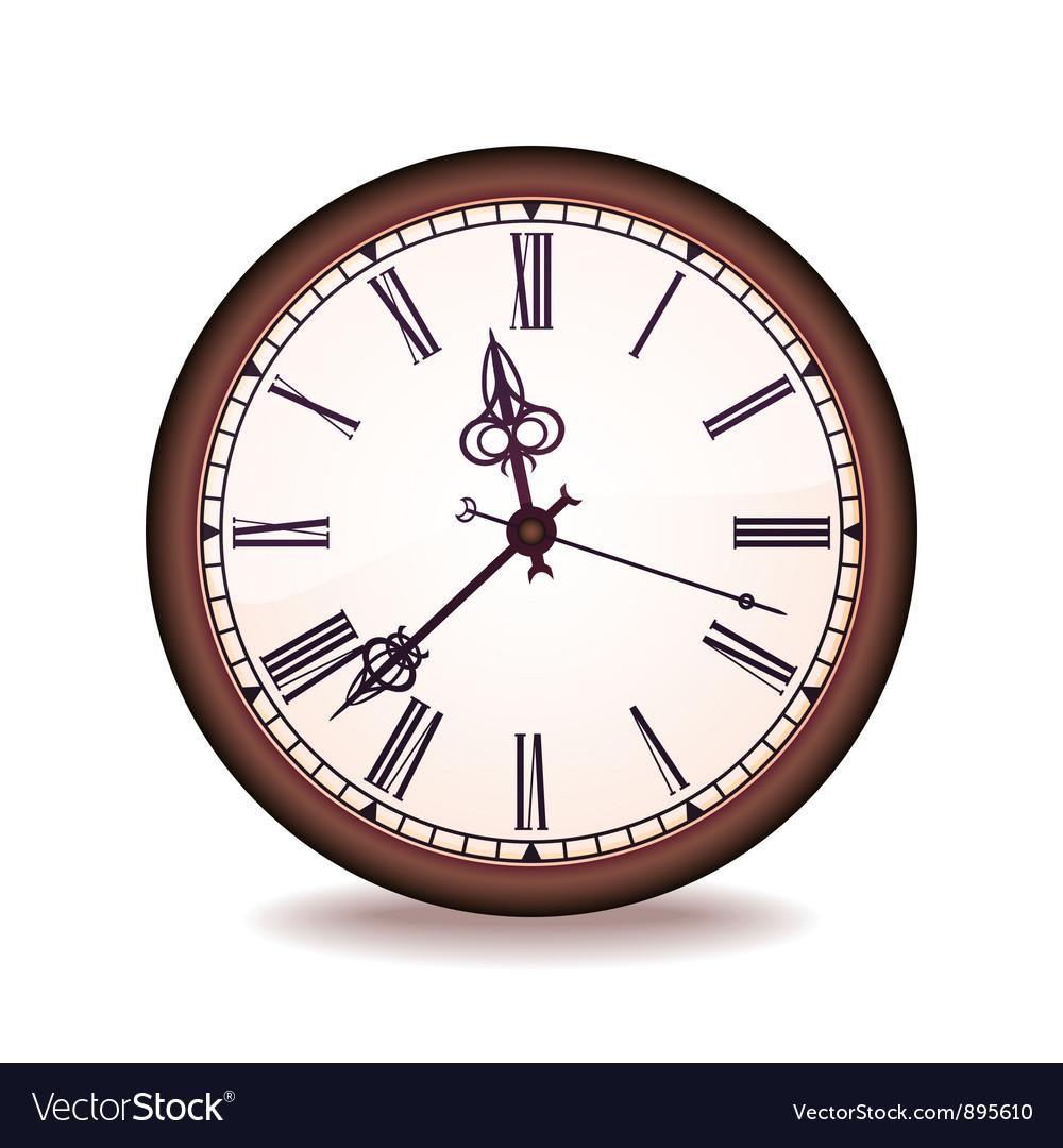 Vintage Wall Clock Royalty Free Vector Image Vectorstock