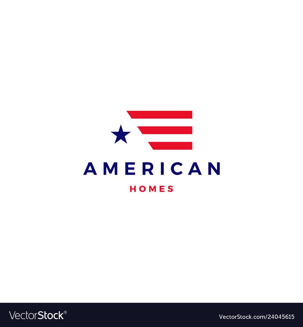 American flag house home mortgage logo icon