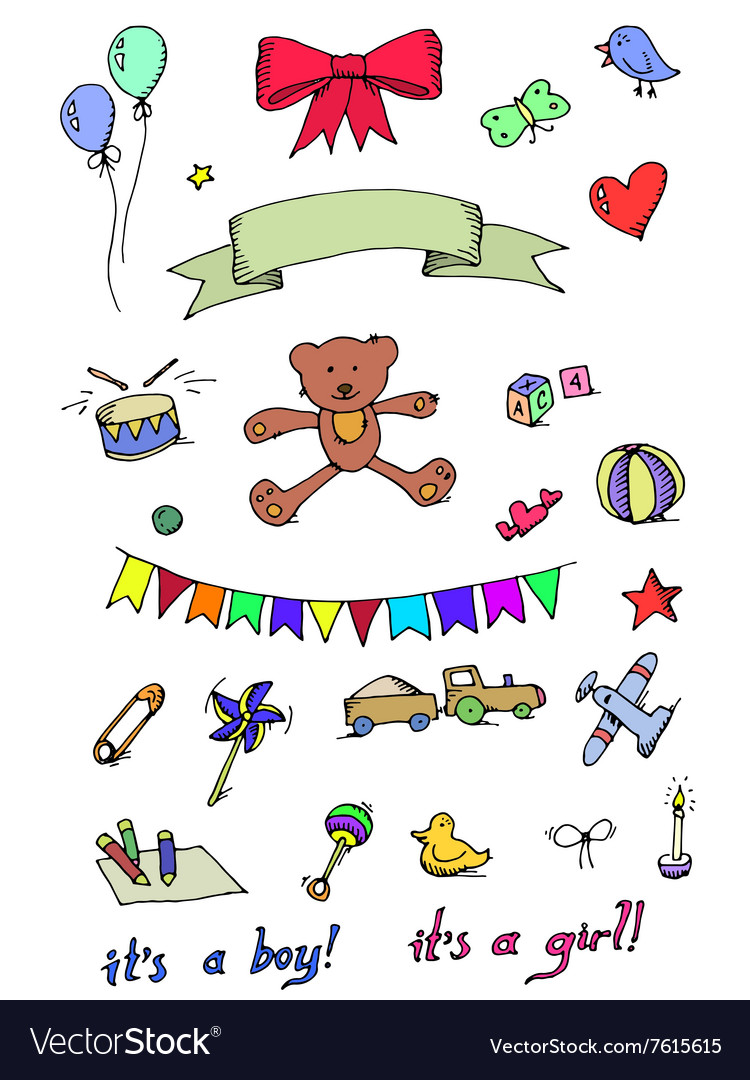 Baby Icons Doodle Elements Set