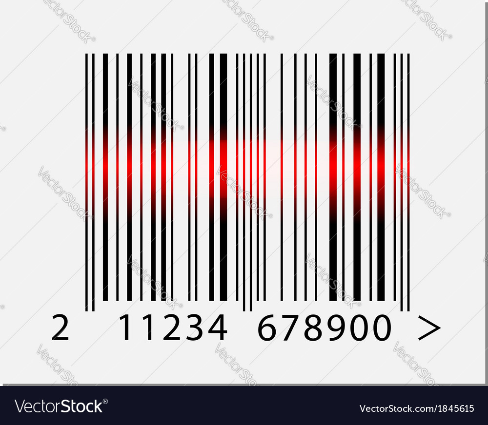 Barcode icon with red laser beam
