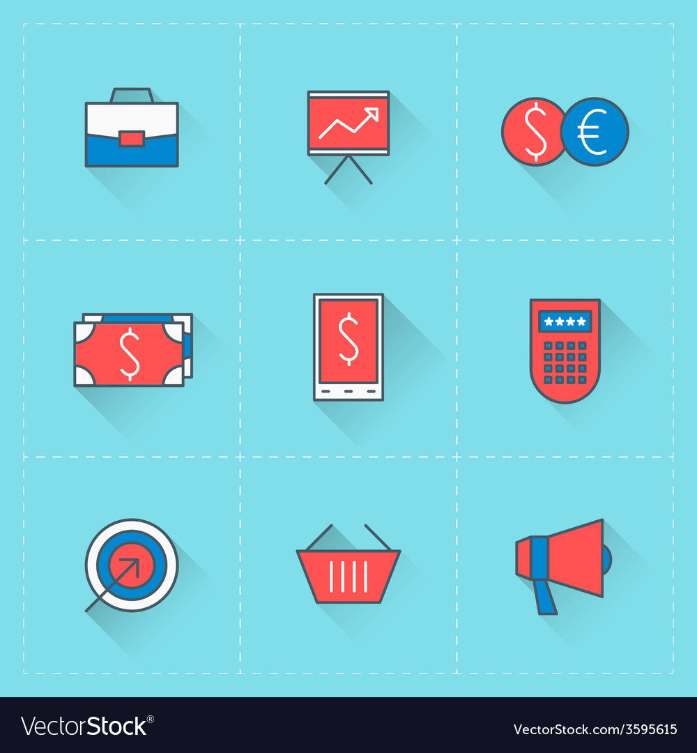 Business icons icon set in flat design style