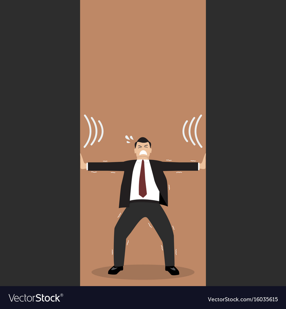 Businessman pushing against squeezing walls vector image