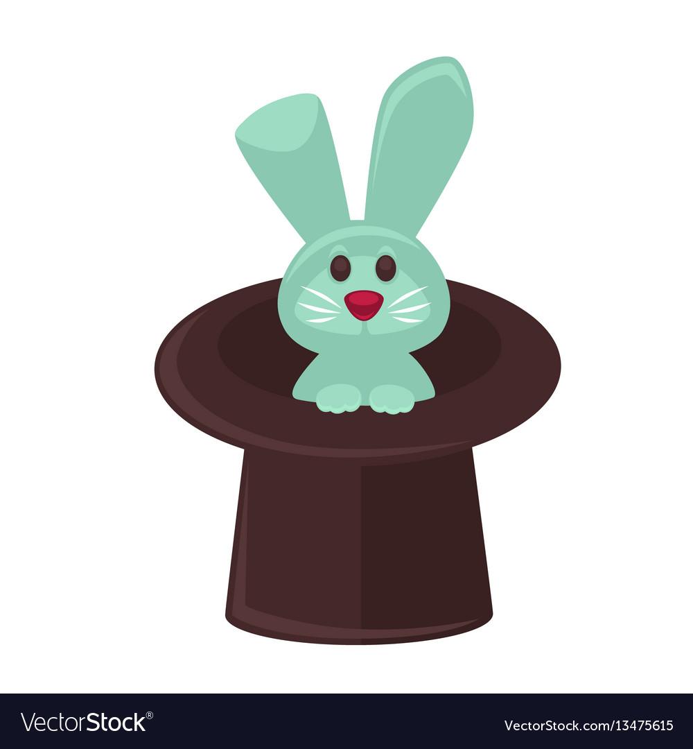 Circus magician hat and bunny flat cartoon