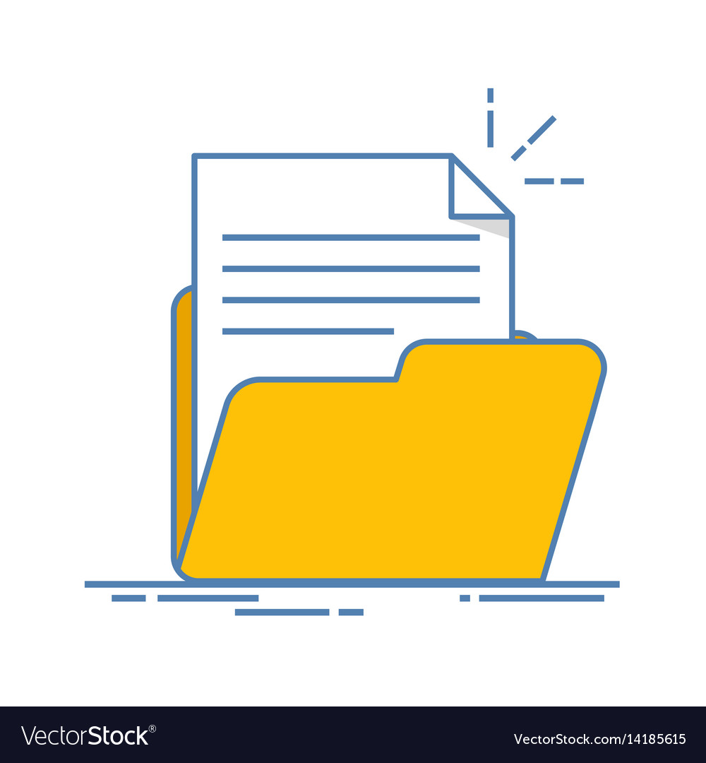 Document in the folder icon paper sheet with