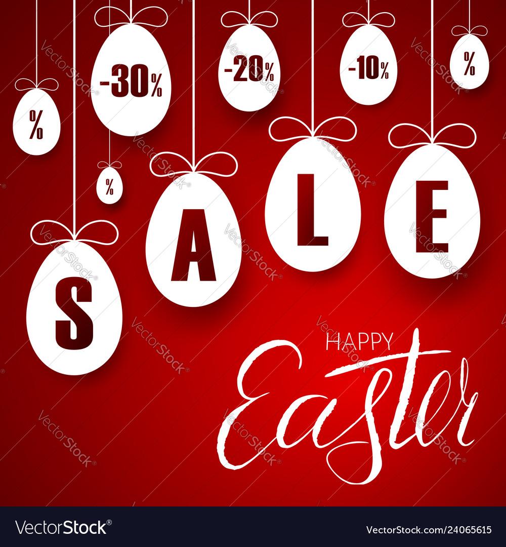 Easter sale banner easter hanging eggs cartoon