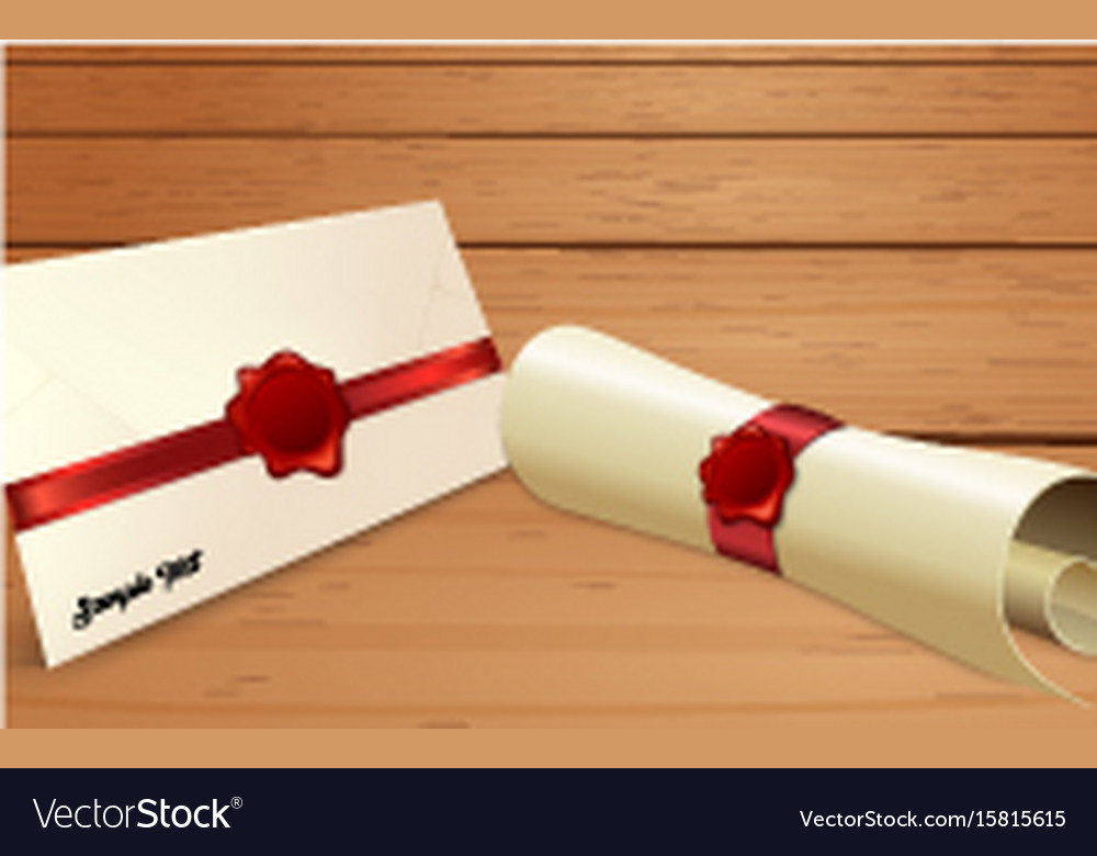 Envelope with paper scroll and red wax seal