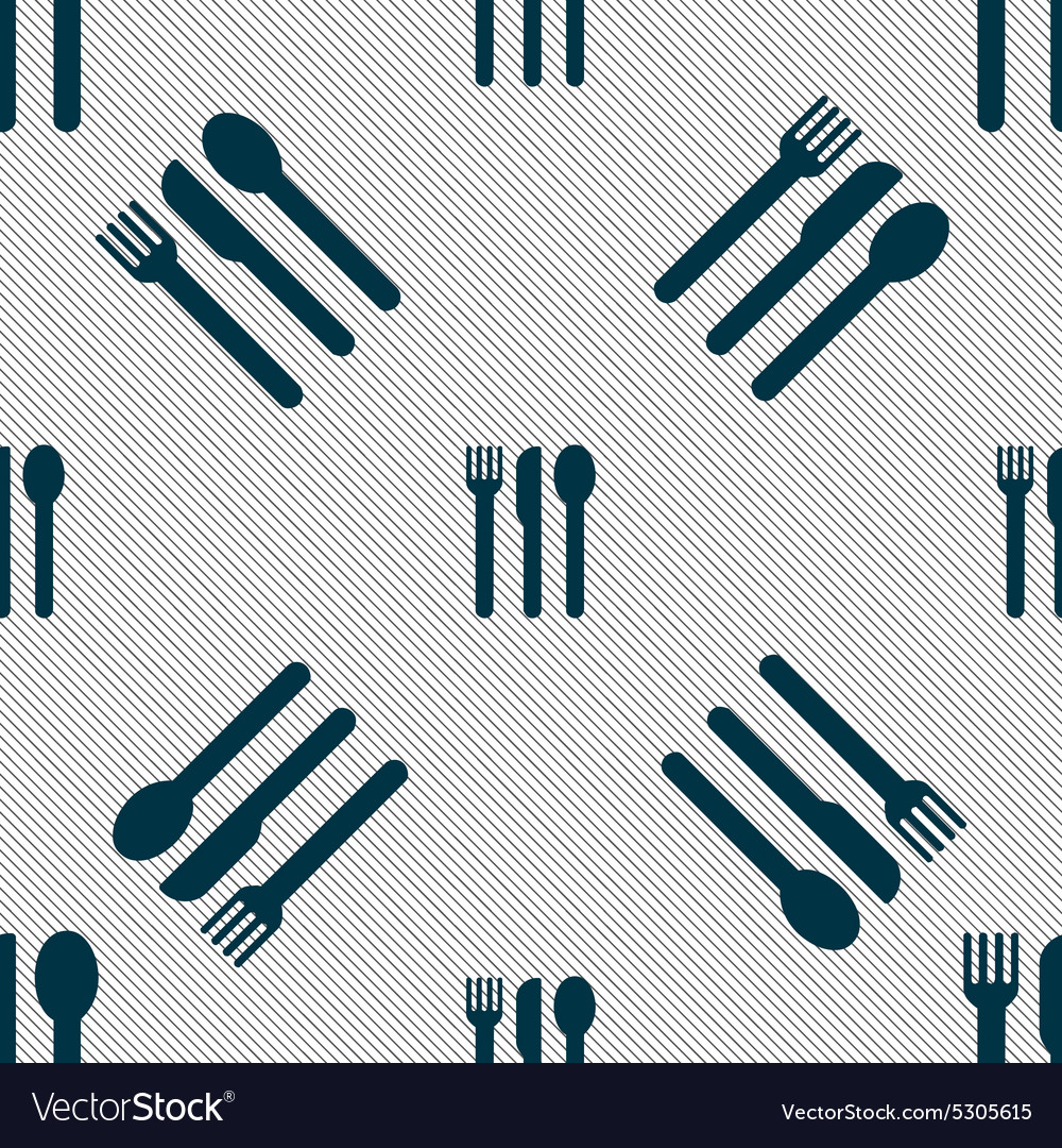 Fork knife spoon icon sign Seamless pattern with