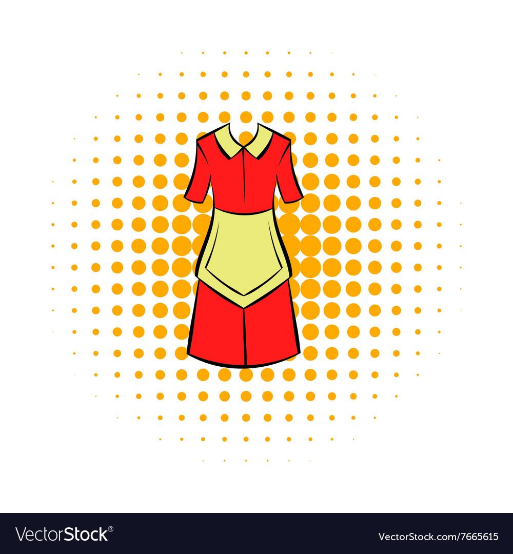 Housewife dress icon comics style