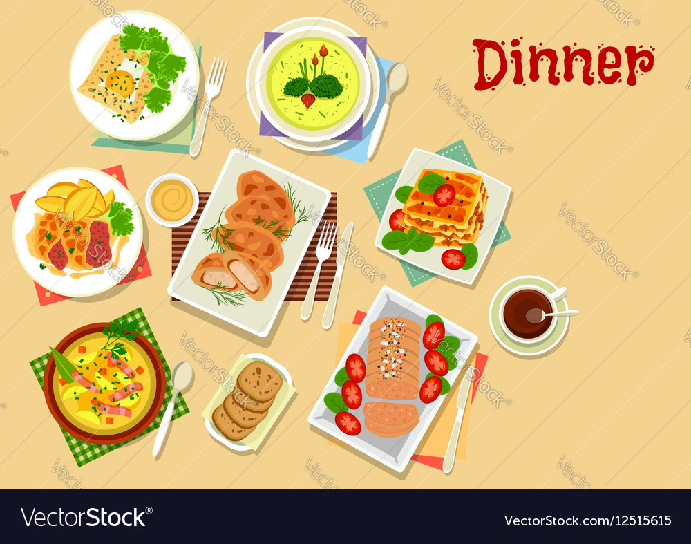 Meat and potato dishes icon for lunch menu design vector image