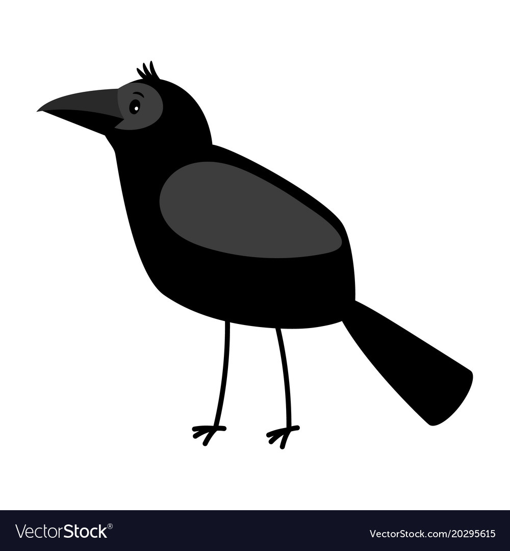 raven cartoon bird icon royalty free vector image rh vectorstock com Raven Bird Drawings Raven Bird Flying