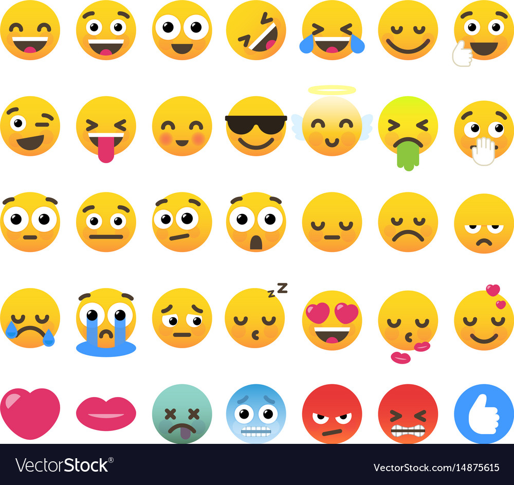 Set of 35 funny emoticons emoji flat design