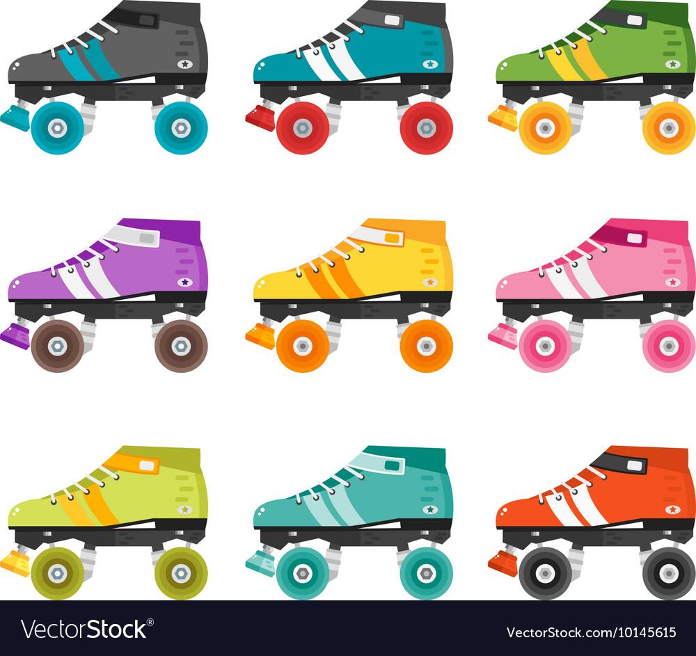 Set of flat quad roller skates