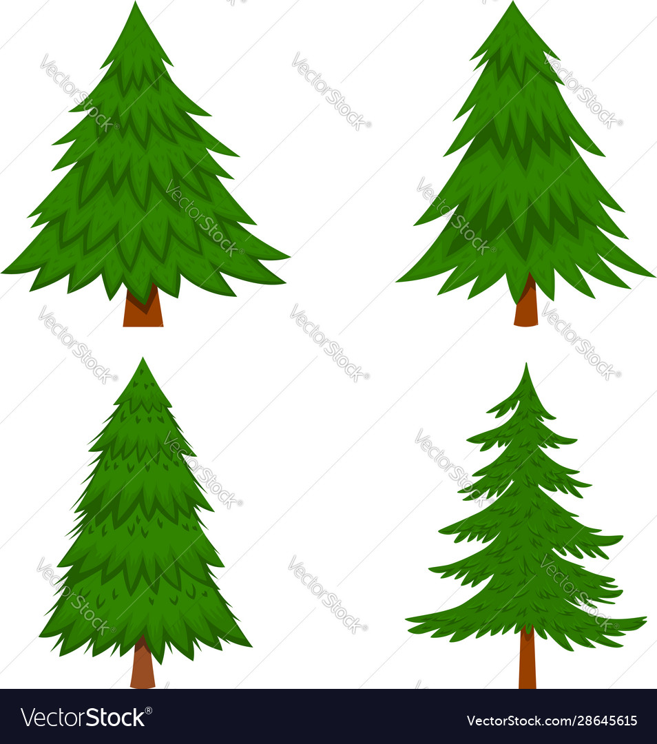 Set pine tree in cartoon style isolated on