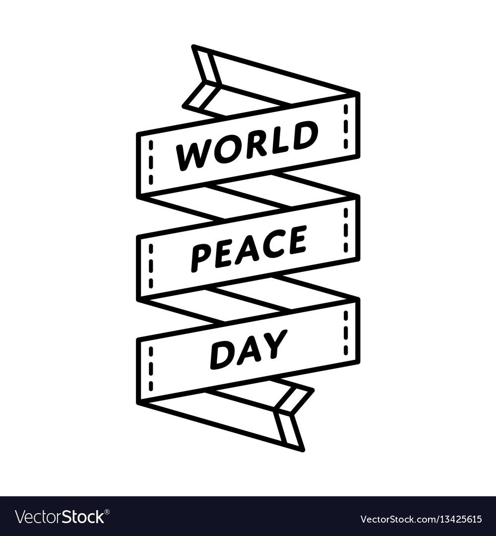World peace day greeting emblem