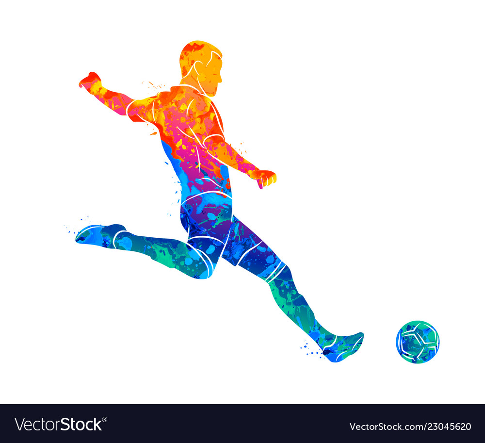58bb2b8f1 Abstract professional soccer player quick shooting vector image