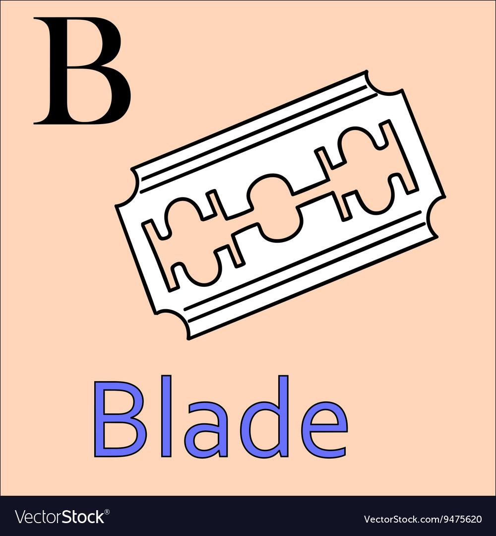 B letter alphabet Coloring book blade