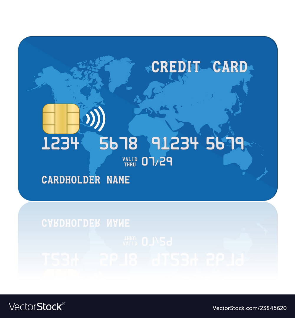 Blue contactless credit card template of plastic