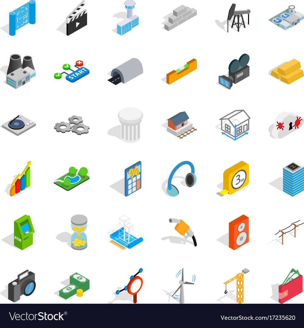Camera icons set isometric style