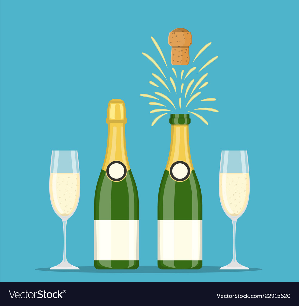 Champagne bottles and glasses