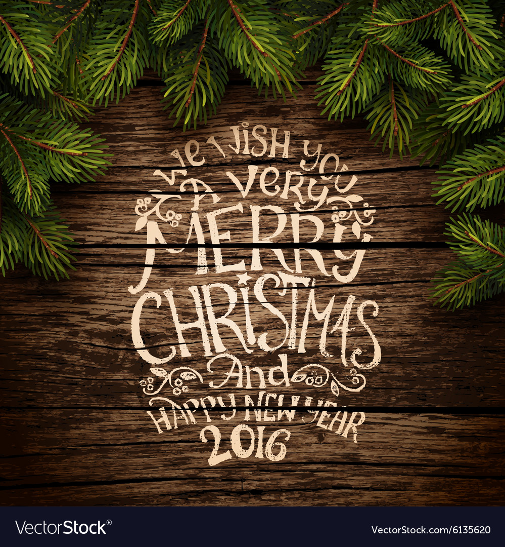 Christmas typography on wooden texture vector image