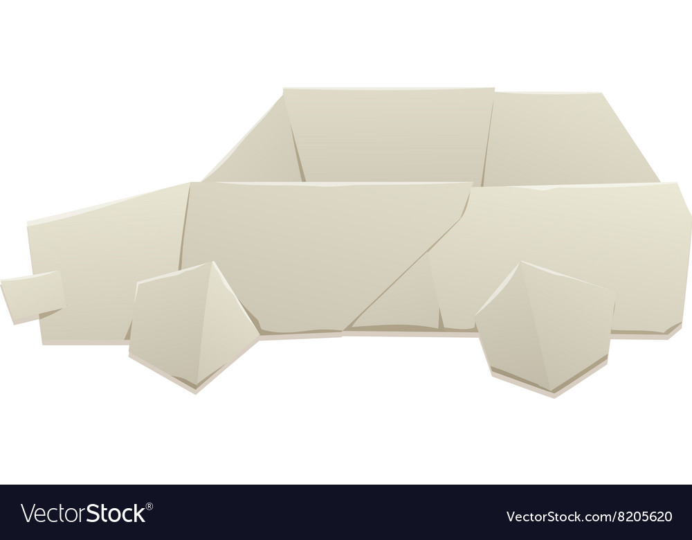 Origami Car Silhouette Royalty Free Vector Image