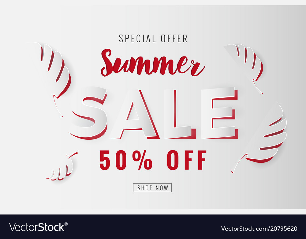 Paper cut summer sale promotion background