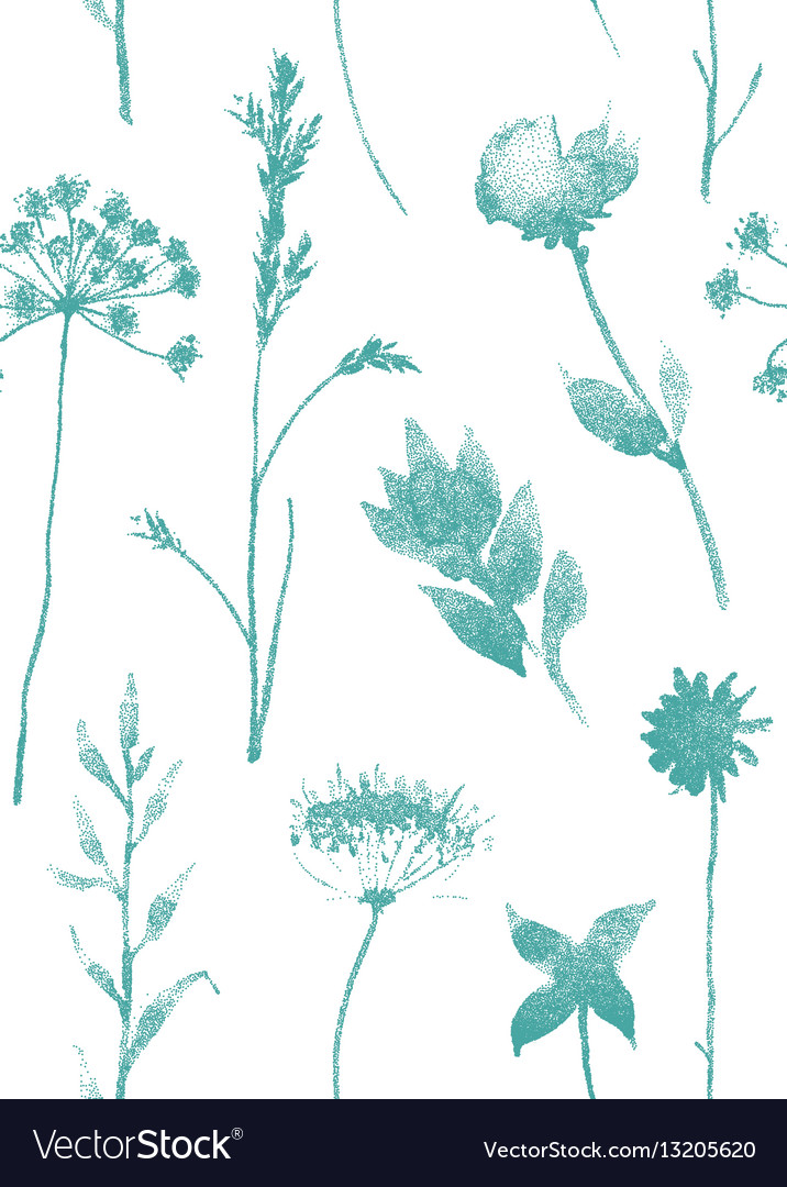 Seamless pattern with dry flowers and grass hand