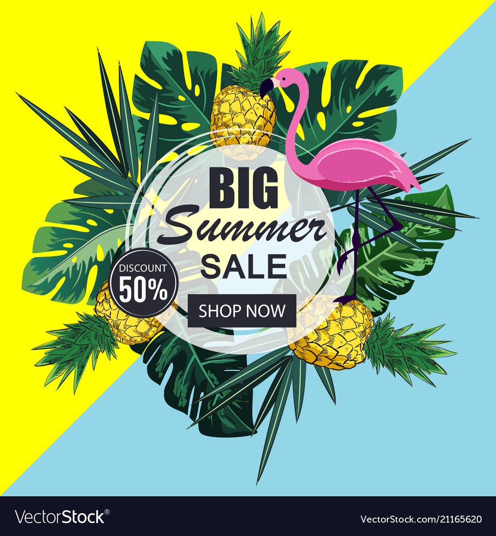 Summer sale banner with paper cut flamingo and