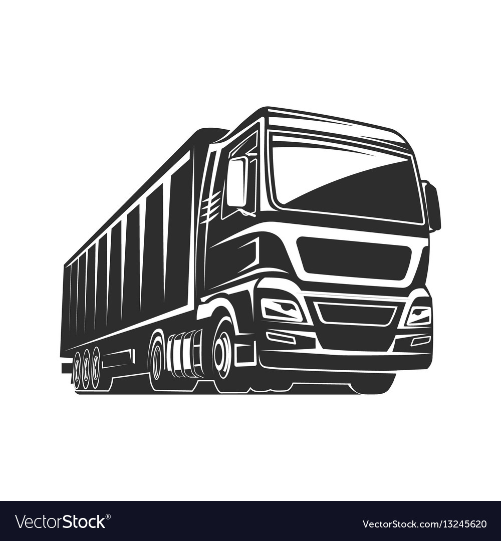 Truck cargo silhouette freight logo template Vector Image
