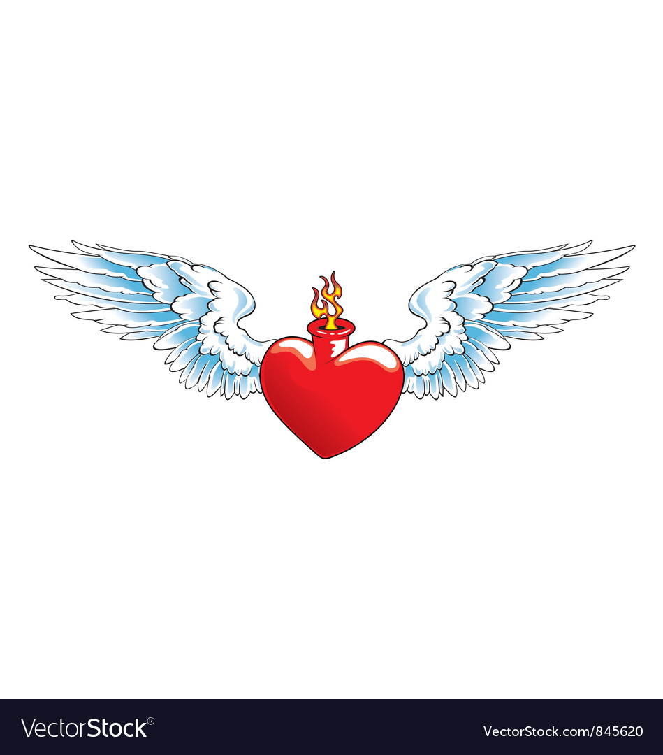 Winged heart with flames
