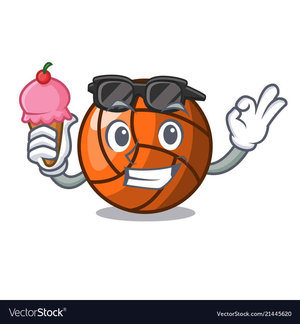 With ice cream volleyball character cartoon style