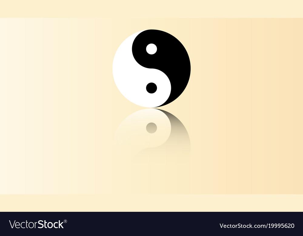 Yin Yang Symbol With Reflection Royalty Free Vector Image