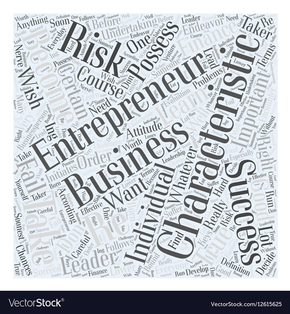 Characteristics of entrepreneur Word Cloud Concept