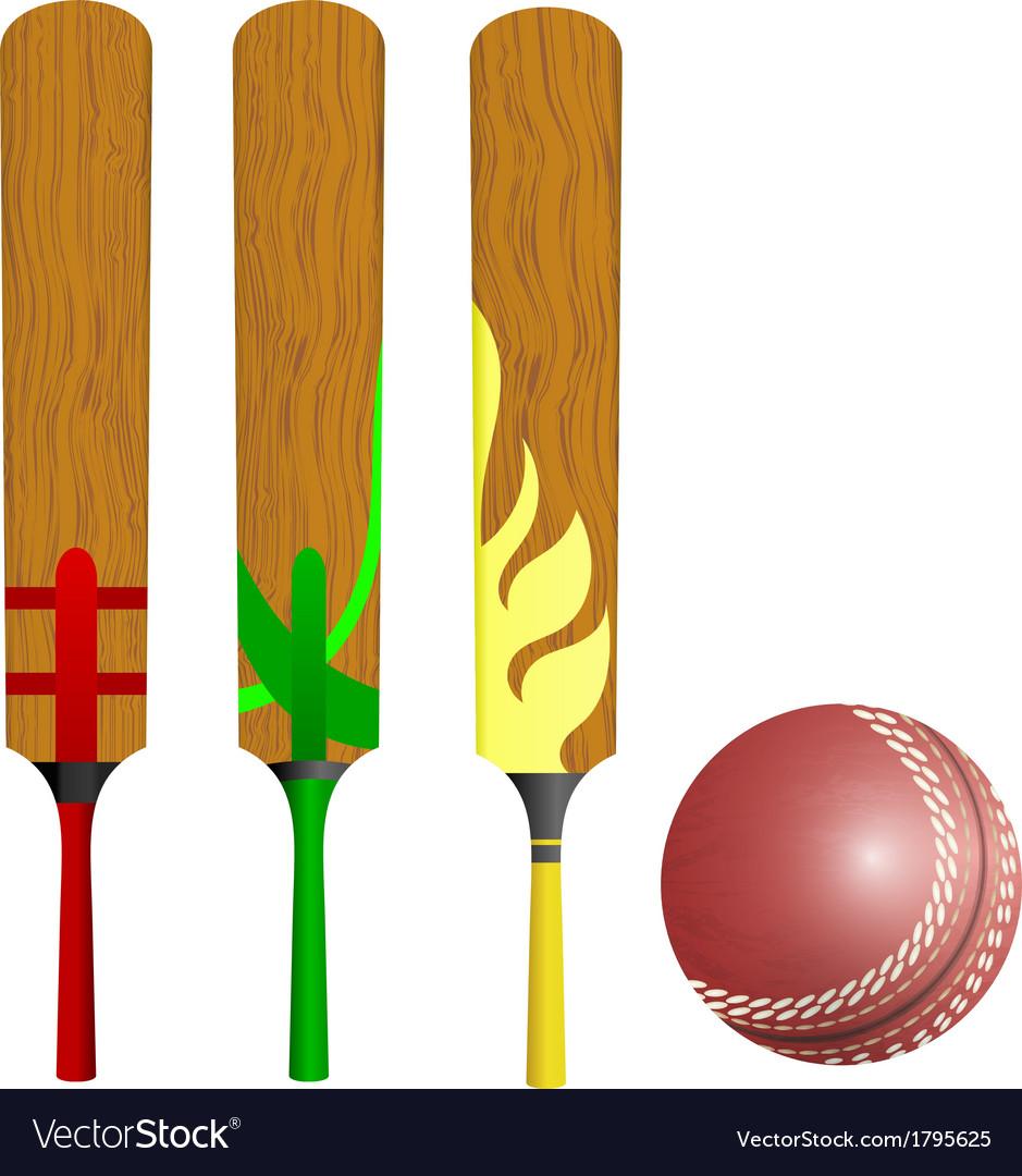 Cricket bats and ball vector image