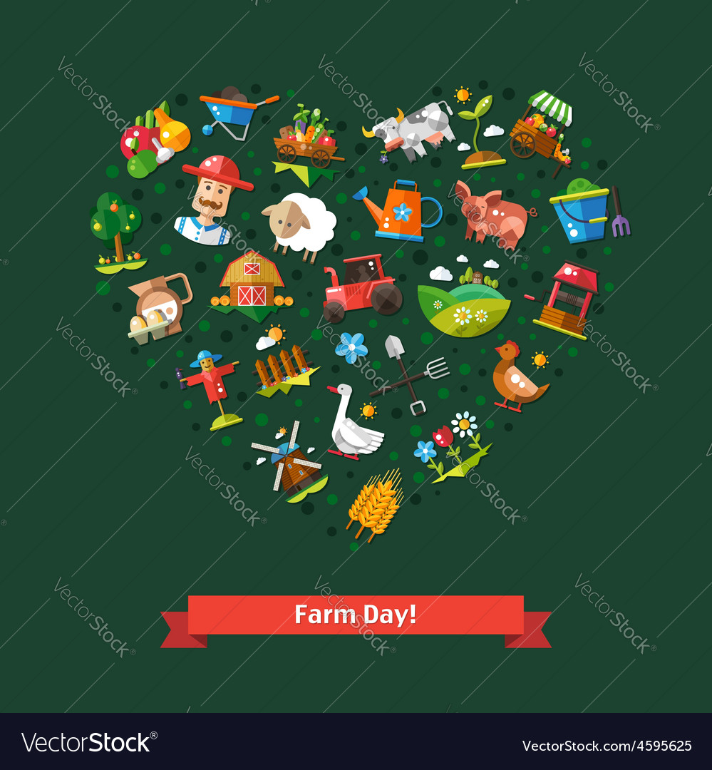 Heart composition of modern flat design farm and