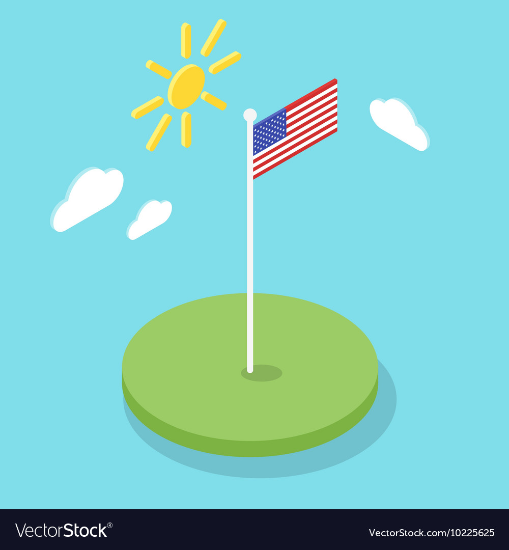 Isometric 3d icon of American flag
