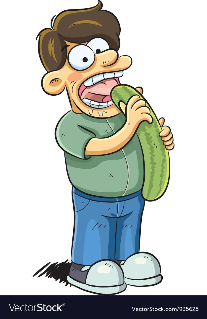 Man eating cucumber