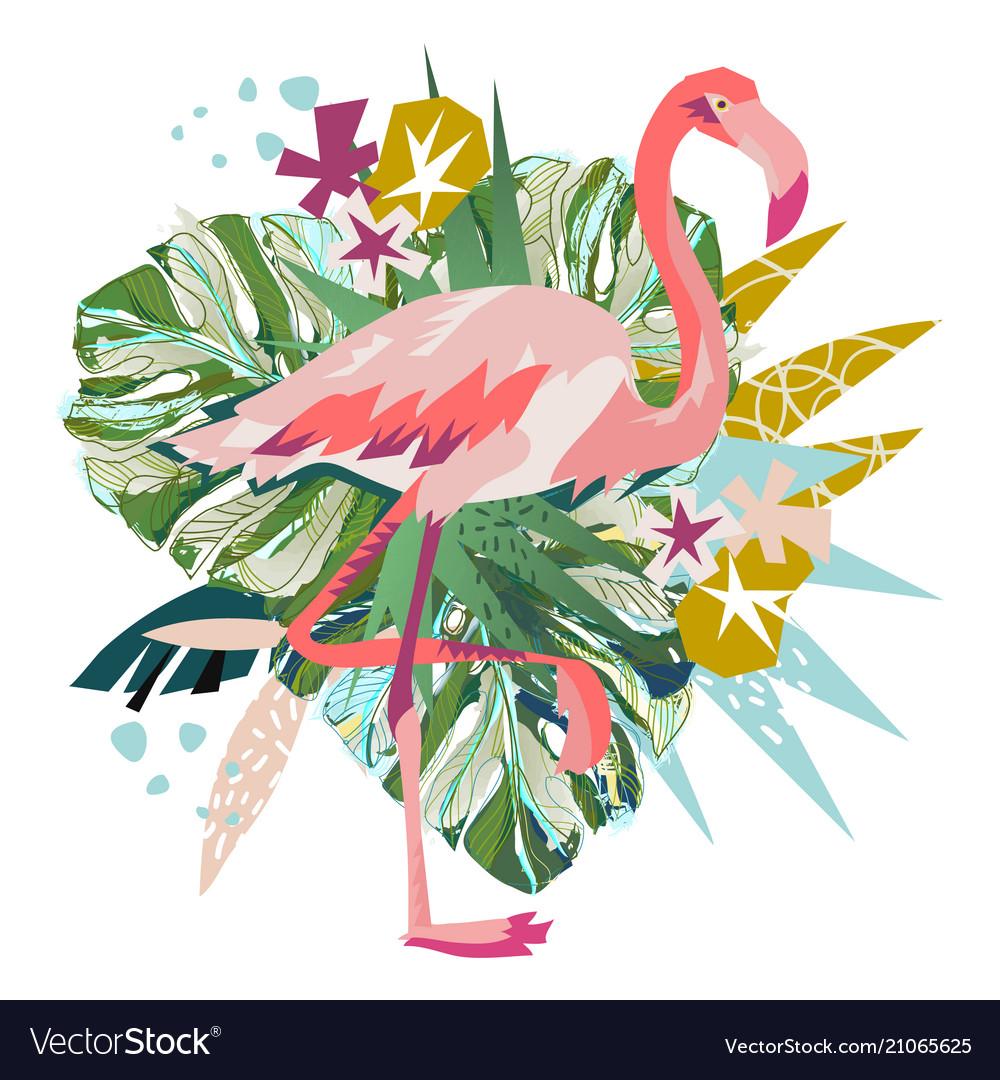 Pink flamingo isolated on white