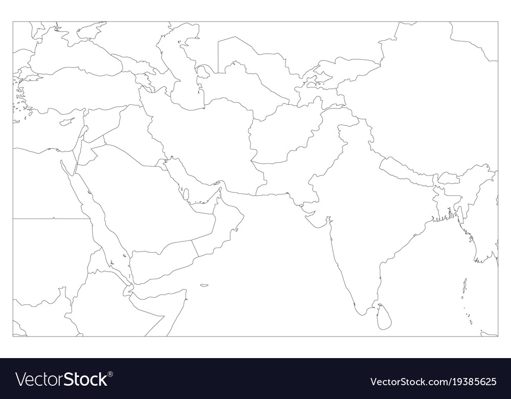 Political map of south asia and middle east Vector Image