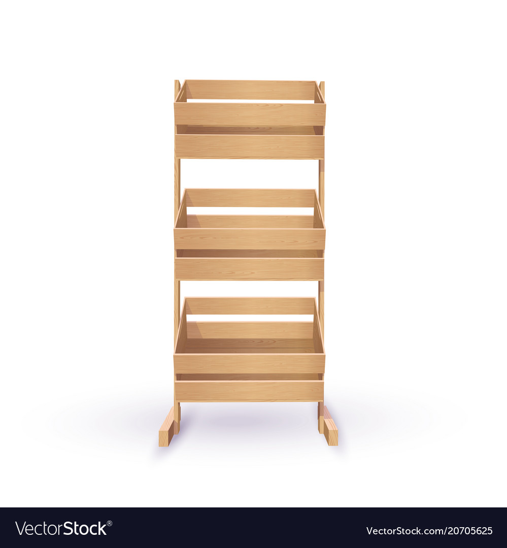 Rack with wooden crates vector image