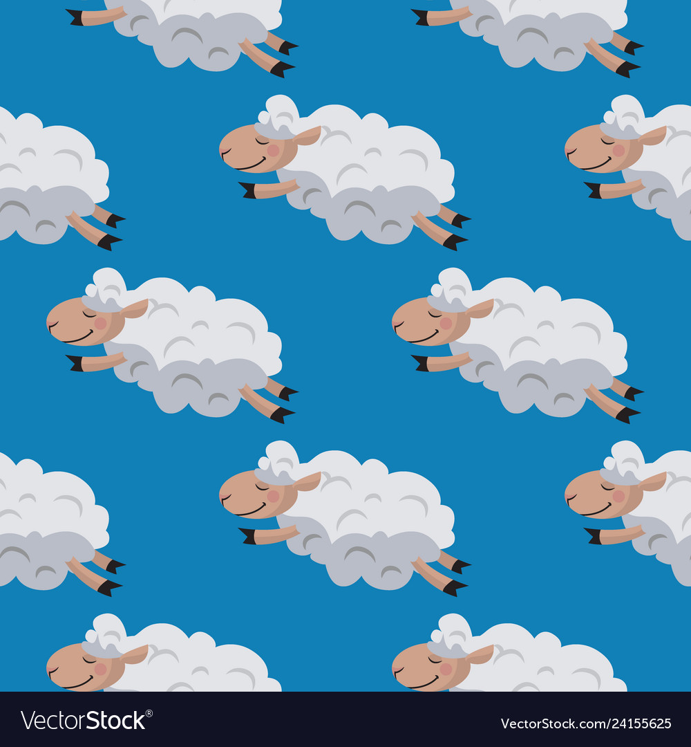 Seamless pattern with flying sheeps lamb