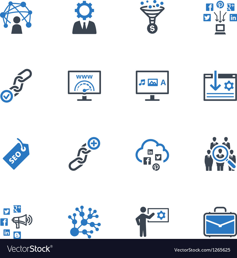 SEO and Internet Marketing Icons Set 2-Blue Series