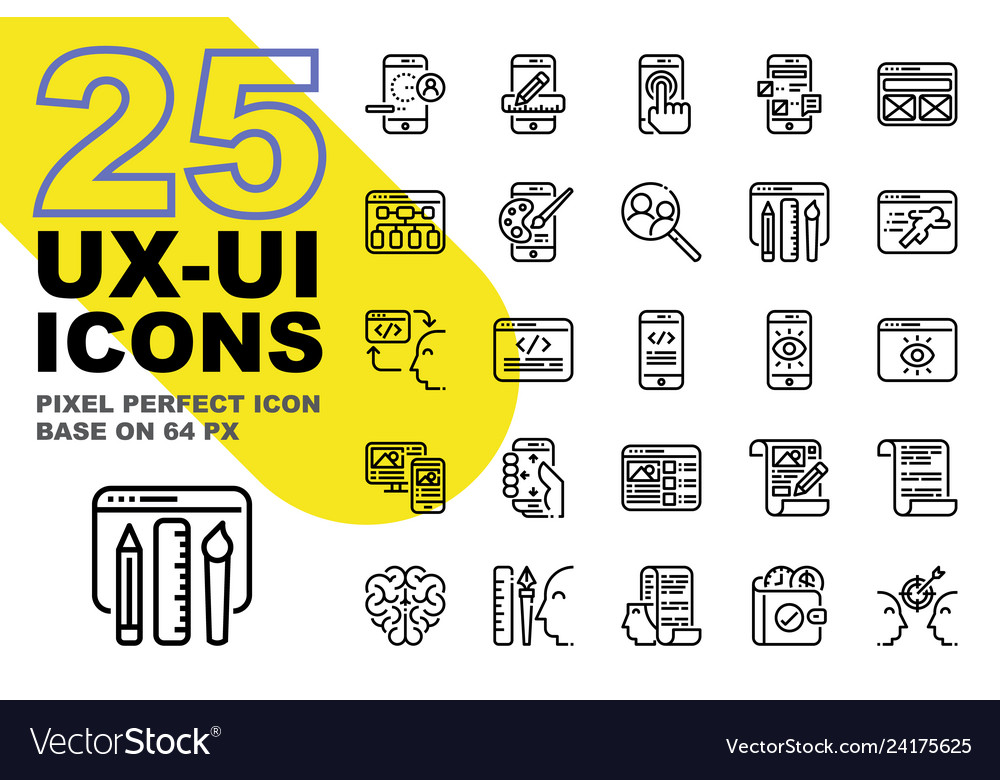 Ux ui application outline icons set base on 64px