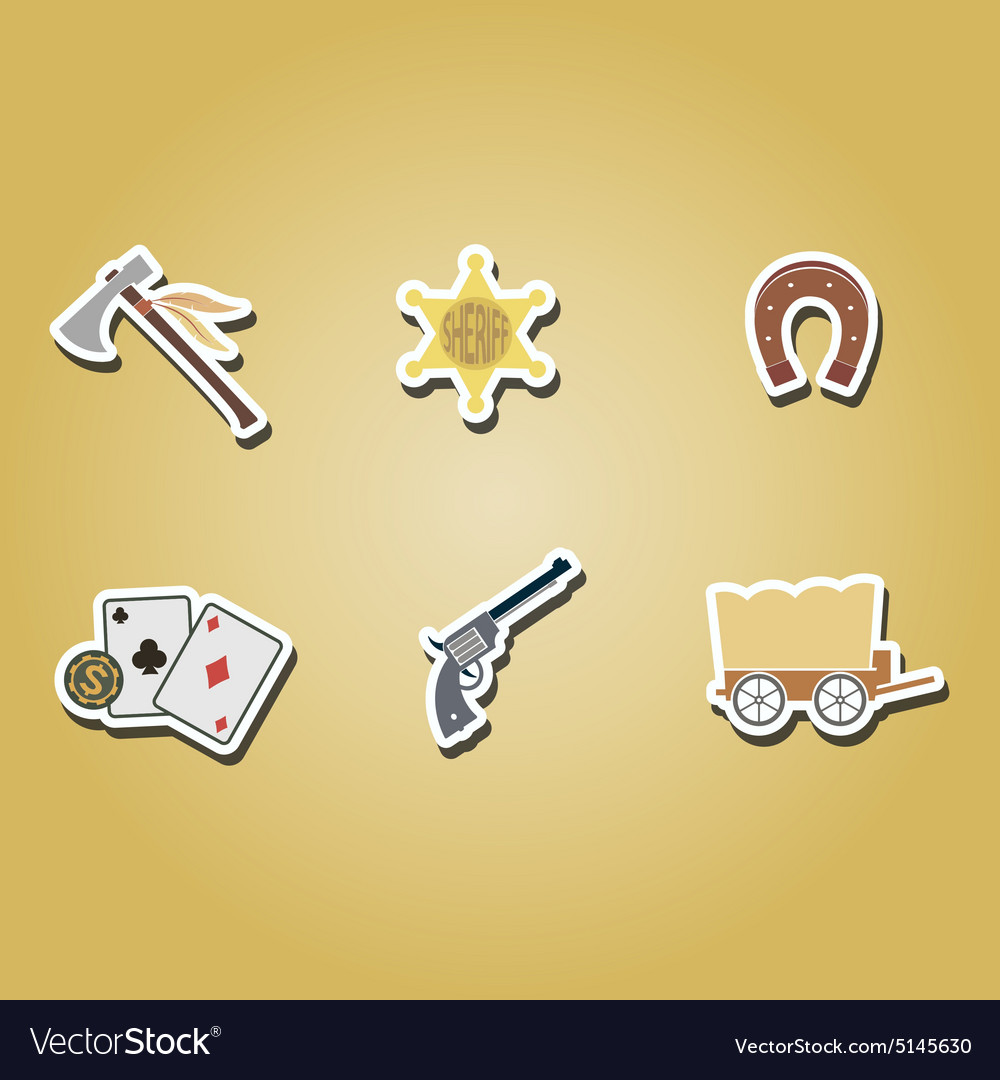 Color icons withcowboys and wild west theme