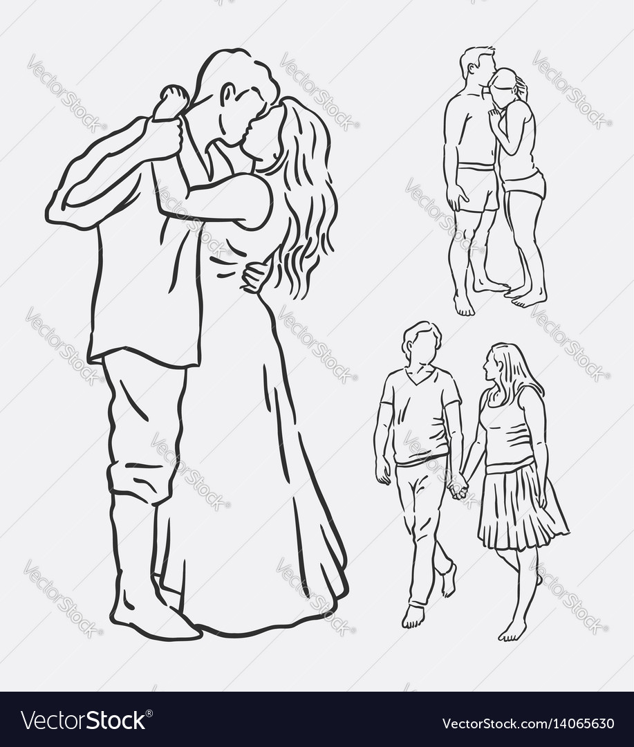 Love couple romantic activity sketches vector image