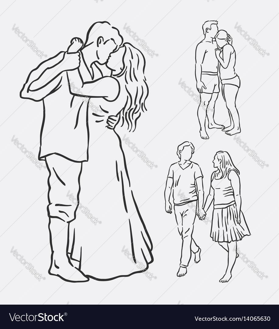 Love couple romantic activity sketches