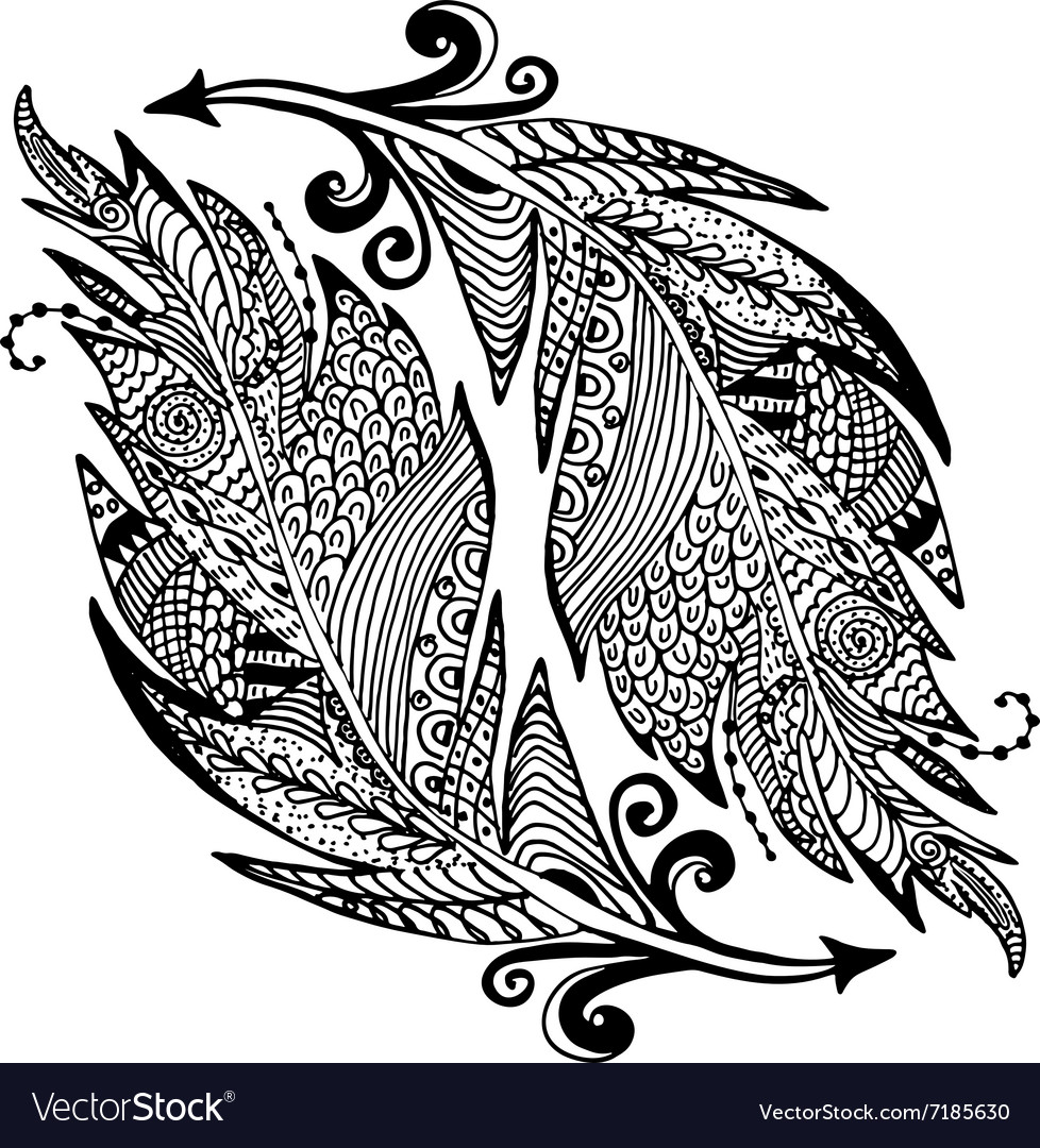 Ornamental hand drawn sketch of feathers in