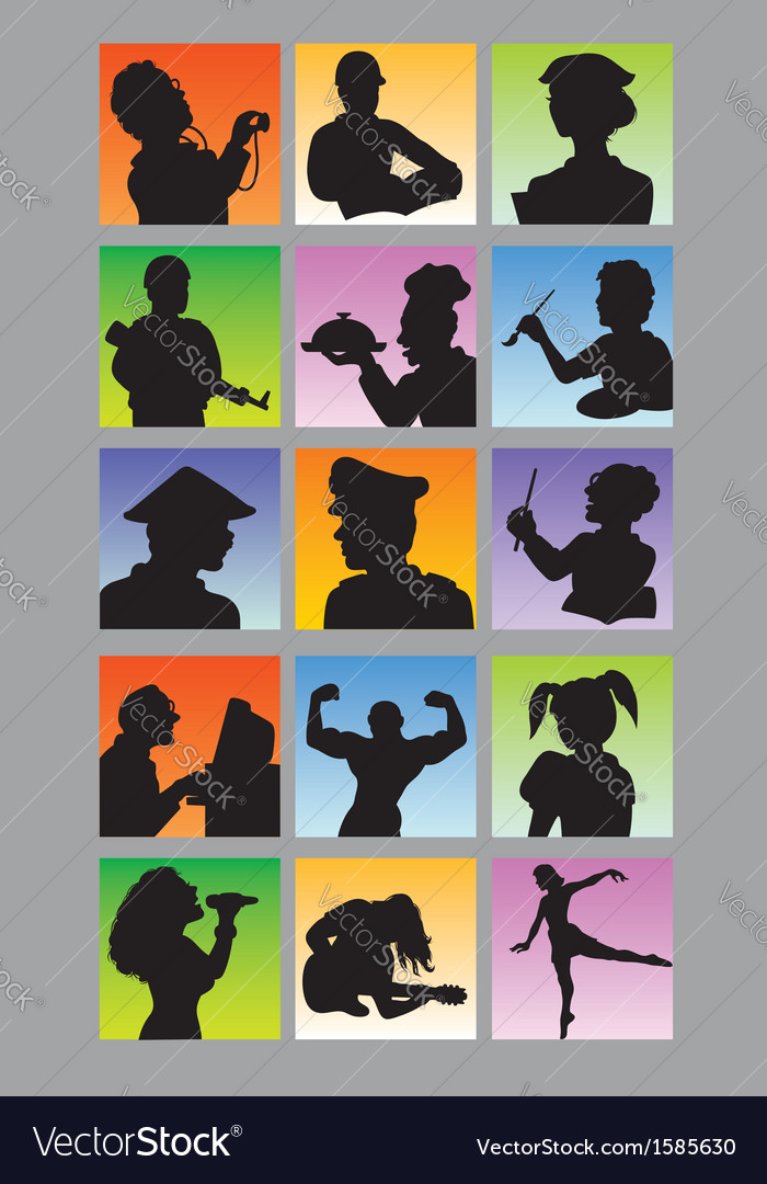 Profession Avatar Silhouettes vector image