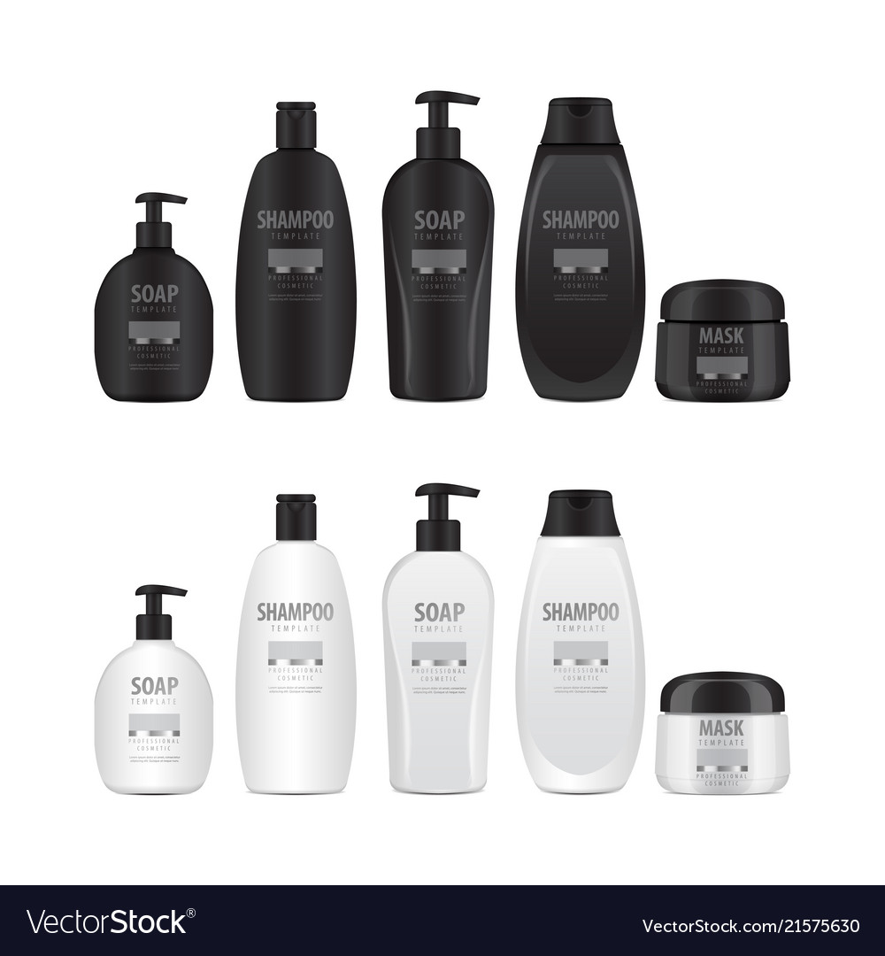 Realistic cosmetic bottles set tube or container