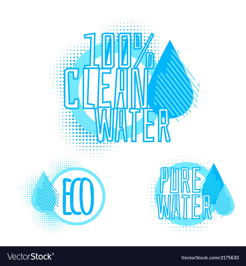 Set of three clear water badges vector image